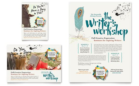 workshop flyer template writer s workshop flyer ad template design