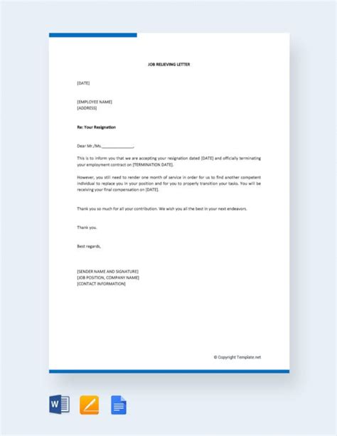 employee relieving letter templates