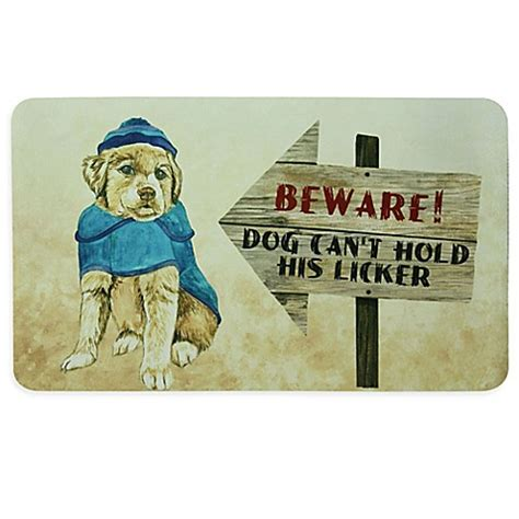 how can puppy hold bacova quot beware can t hold his licker quot 17 5 inch x 29 inch kitchen mat in beige