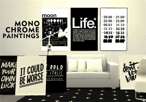 sims 4 cc home decor pure sims monochrome paintings sims 4 downloads