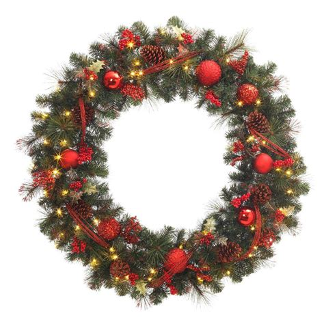 battery led wreath lights 48 in battery operated red accented artificial wreath