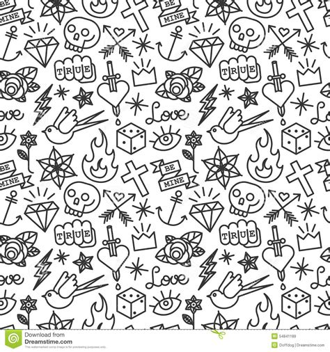 tattoo seamless pattern stock vector image of heart