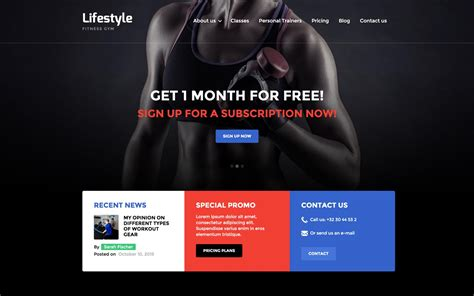 Lifestyle Gym Html5 Responsive Website Template Fitness Trainer Website Templates