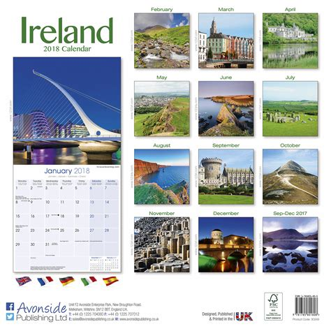Buy Calendars Ireland Ireland Calendar 2018 30249 18 Travel Places Scenery