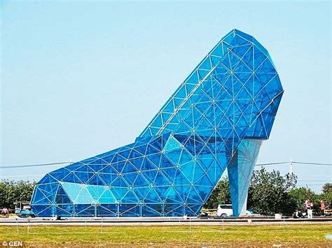 shaped buildings taiwanese town builds a high heel shoe shaped church to