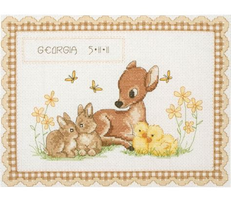 Birth Record Cross Stitch Kits Baby Animal Birth Record Cross Stitch Kit Cross Stitch Anchor Acs23