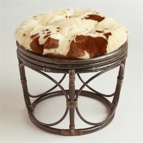 cowhide faux fur papasan stool cushion world market