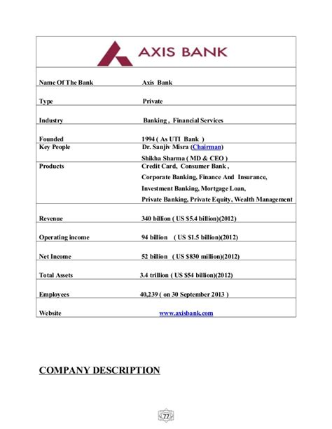 Axis Bank Letter Of Credit Charges Project Report On Axis Bank