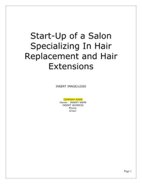 hair salon business plan template salon business plan