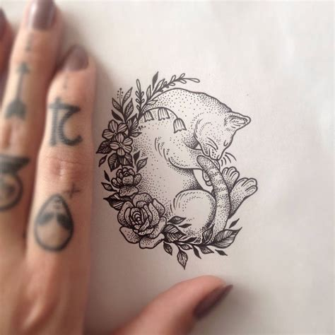 cat tattoo artist uk cat sleeping in wild flowers tattoo by medusa lou tattoo
