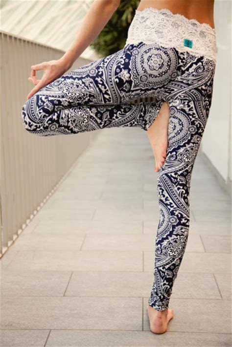 heritage pattern yoga pants leggings lace waist paisley yoga pattern leggings