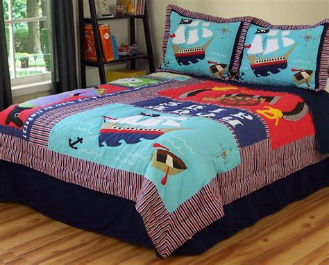 toddler bed sets for boy boys kids pirate ship treasure twin quilt sham bedding