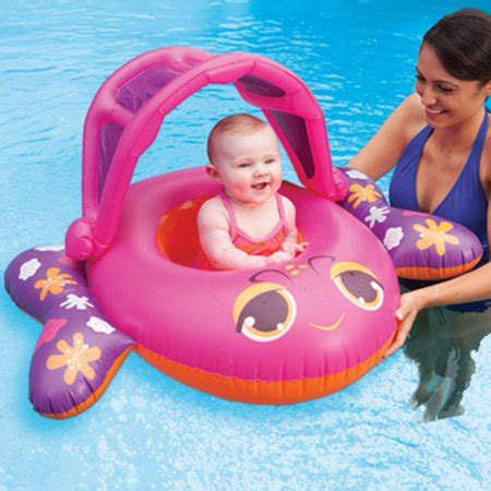 floating boat for baby swim ways sun canopy baby boat infant pool float pink fish