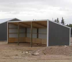 loafing roof on hill single slope pole barn