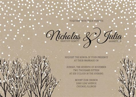 winter wedding invitation templates winter wedding invitation wording winter