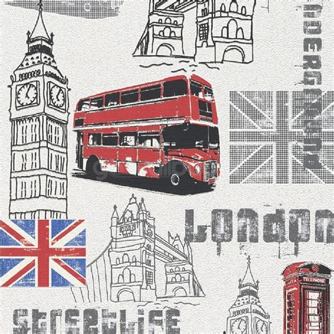 Union Jack Wall Mural rasch london streetlife big ben red bus union jack