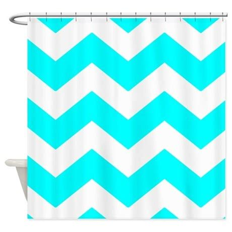 blue and white chevron curtains aqua blue and white chevron shower curtain by patternedshop