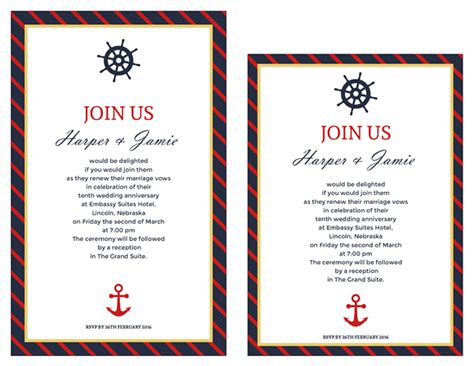 Free Vow Renewal Invitation Suite Classic Nautical Theme Vow Renewal Invitation Templates Free