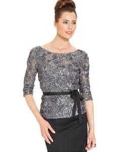 alex evenings three quarter sleeve sequined lace top in metallic lyst