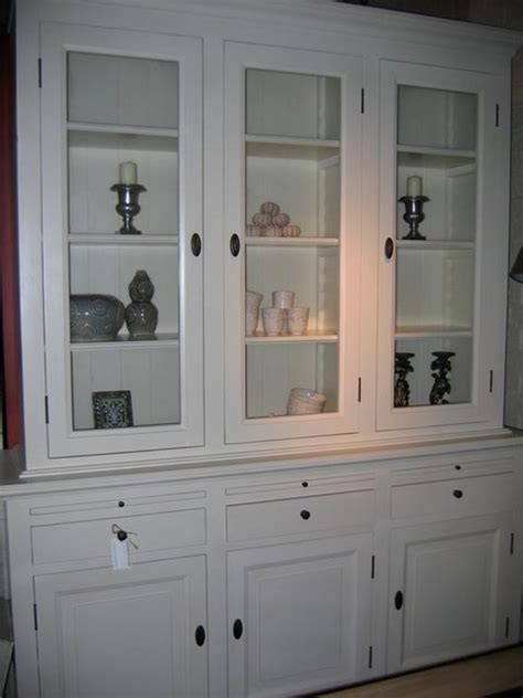 white display cabinet with glass doors