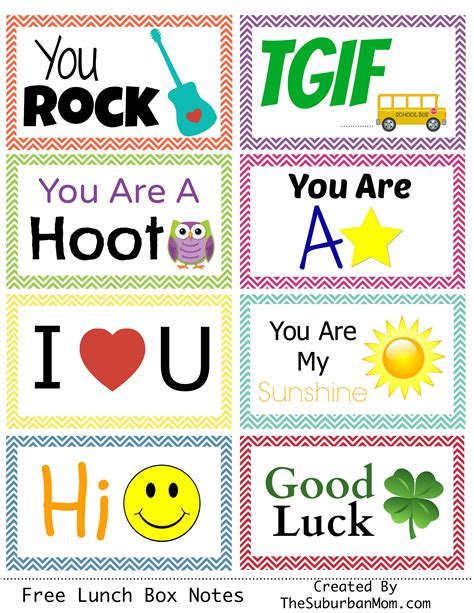 Free Printable Lunchbox Notes back to school free printable lunch box notes