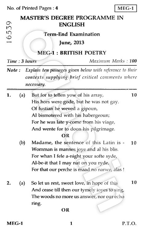 Ignou Mba Question Papers December 2013 by Ignou Meg 01 Poetry Question Paper 2013