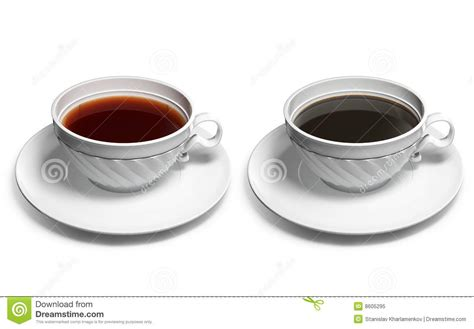 A Tea Coffee Cup a cup of tea and a cup of coffee royalty free stock photo