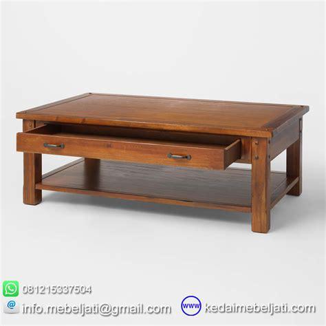 Meja Kopi Kayu Jati beli meja kopi minimalis dengan laci bahan kayu jati jepara harga murah