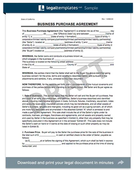 create a business purchase agreement templates