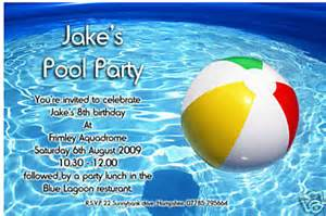 10 personalised boys swimming pool invitations d17 ebay