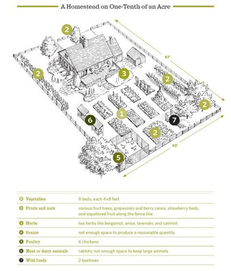 homestead layout plans on 1 acre or less 1 10 of an acre layout from the backyard homestead home orchard and garden