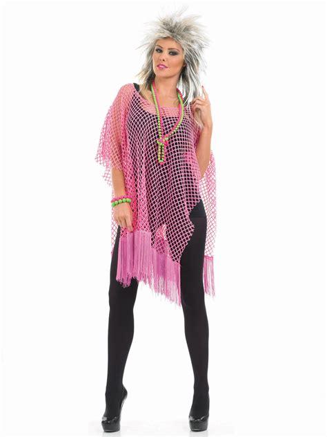 80 S Dress by 80 S Neon Pink Long Mesh Top Fs3390 Fancy Dress Ball