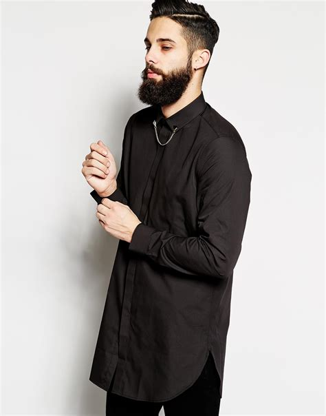 collar chain lyst asos shirt in longline with collar chain in black for