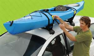 Strapping A Kayak To A Roof Rack by Roof Rack Straps Tie Downs Roof Racks On The Run