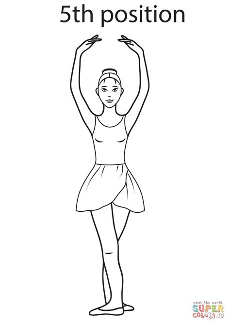 ballet 5th position coloring page free printable