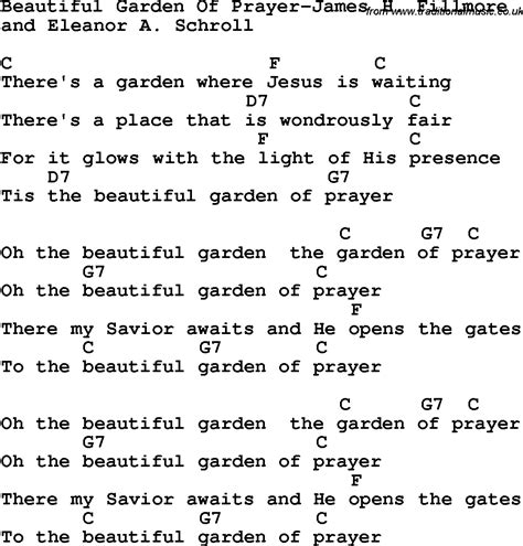 The Gardener Chords by Country Southern And Bluegrass Gospel Song Beautiful Garden Of Prayer H Fillmore Lyrics