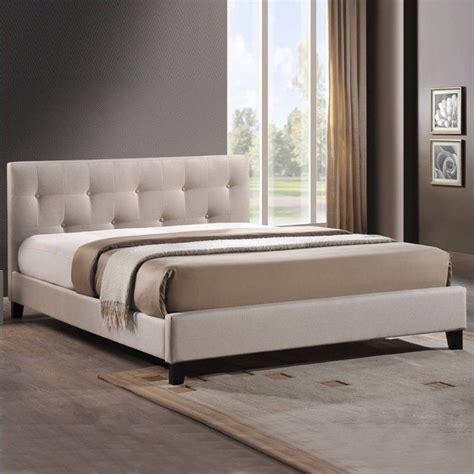 cymax schlafzimmer sets upholstered platform bed in light beige