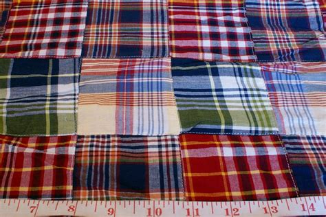 Patchwork Madras Fabric - preppy madras plaid cake ideas and designs