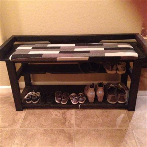 diy shoe rack bench diy pallet entry bench shoe rack 101 pallets