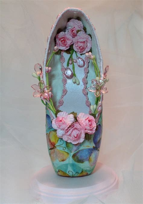 Decorated Shoes by Decorated Pointe Shoe Centerpiece With Pastel Butterflies And