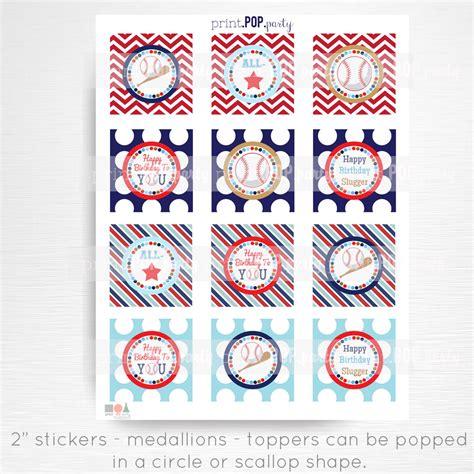 printable baseball stickers baseball birthday printable stickers cupcake toppers