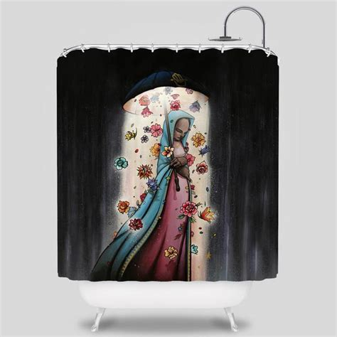sam flores shower curtain skull bunny shower curtain by jeremy fish