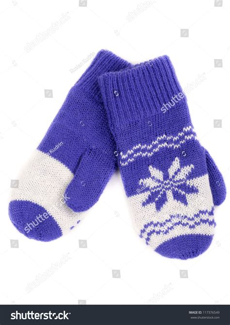 snowflake pattern knitted mittens pair of knitted mittens with pattern snowflake isolate on