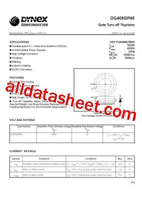 transistor gto dg408bp45 fiche technique pdf dynex semiconductor