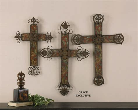 home decor crosses 13637 decorative crosses set 3 by uttermost modern