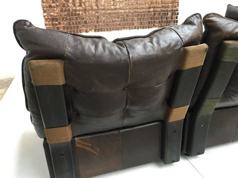distressed leather sectional sofa gypset 1970s chocolate brown distressed leather sectional