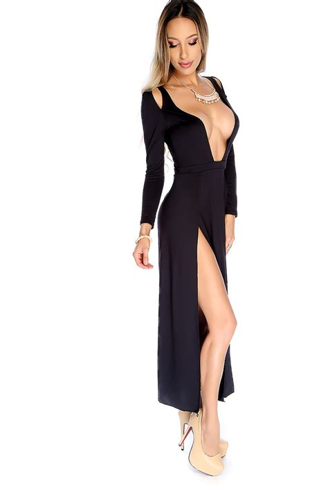 Dress Slit black sleeve open chest side slit dress