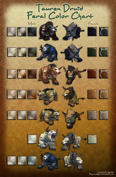 druid colors tauren color chart secret cat