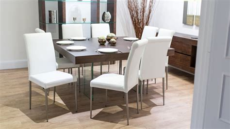 Square Glass Dining Table For 8 Wood Square Dining Table Glass Legs Seats 6 8