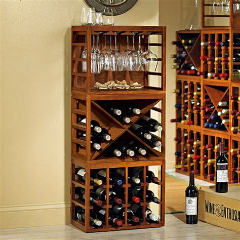 Stack And Rack Storage Cubes by Cube Stack Wine Bottle Stemware Rack Set Walnut Stain